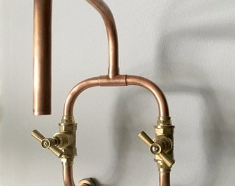 Loop - wall mount industrial handmade copper tap