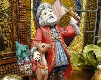 Santa Figurine Old World Russian Santa, Hand Painted Ceramic Santa Figurines