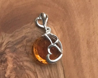 Honey Amber Sterling Silver heart  Pendant