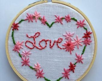 Love,Hand Embroidery Heart,Embroidery Hoop,Hoop Art,Wall Art,Stitch Art,Door Art.