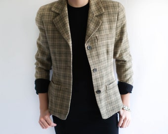 Vintage Wool Blazer / 80s Women's Plaid Neutral Wool Blazer Jacket / 1980s Blazer / Vintage Clothing / Plaid Blazer Vintage 80s