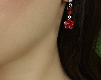 Red Earrings Crystal Earrings Long Earrings Silver Red Birthday Gift For Girlfriend Gift For Her Red Flower Earrings Romantic Summer Earring