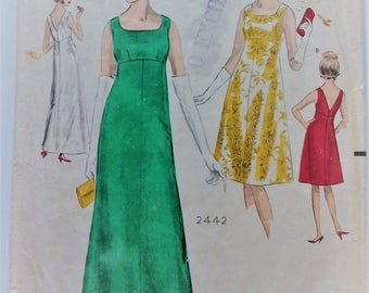 Vintage 1960's Weigel's sewing pattern 2442 - Empire line evening dress