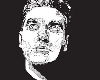 Morrissey, The Smiths. illustration, hand drawn, digital print, poster, music, black and white, portrait, home, office, art, fine art