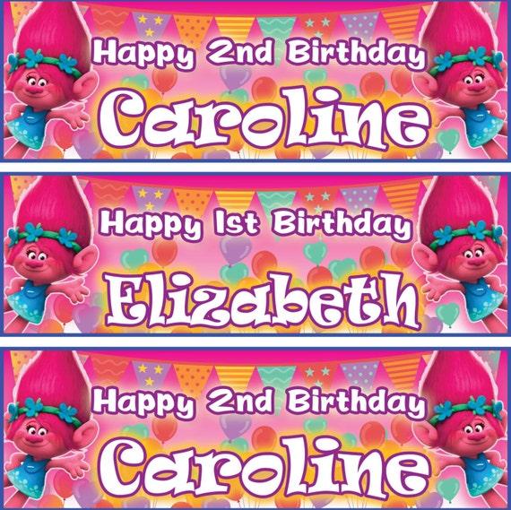2 X Personalized Birthday Banner Trolls Poppy Party Balloon