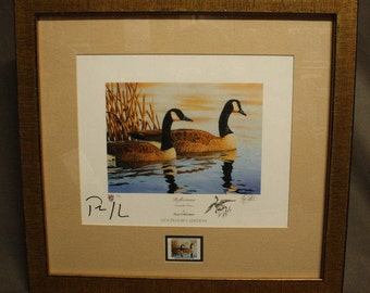Reflections -Canadian Goose Pair- Guy Crittenden Framed Governor's Edition Print #2 of 50 Matching Virginia Waterfowl Stamp Ducks Unlimited