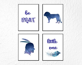 Set of 4 Nursery Prints, Boy Nursery Print Set, Boho Nursery Print Boy, Be Brave Little One, Boho Nursery Wall Art, Tribal Nursery Decor