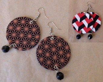 Two pattern variations: Round textile chandelier earrings. Geometrical pattern fabric statement earrings