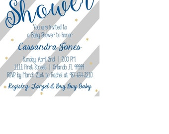 Gray Stripe and Navy Blue Baby Shower Invitation, Printable