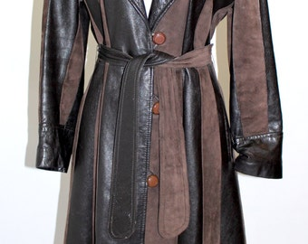 Vintage Clothing • 1970's Women's Leather Trench Coat  • Jackets and Coats • Black and Brown Leather and Suede • Medium