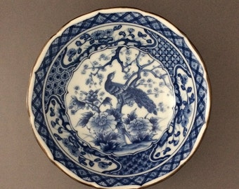 """Japanese Blue and White Peacock and Floral Bowl - 6"""""""