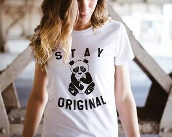 Panda Bear Shirt, Cute, Stay Original, Be You, Be Yourself, Inspirational, Animal, Sorority, Womens Graphic Tees