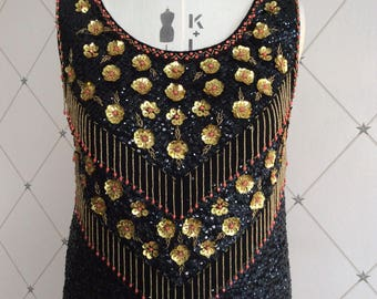 1960's Super Sparkly Beaded, Sequinned and Tasselled top !!!