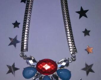 Red, Silver & Blue Rhinestone Statement Necklace