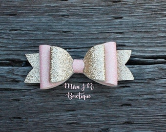 Pink and Gold Double French Bow Baby Headband, Pink and Gold Glitter Baby Bows, Holiday Headband, Baby Hairbows