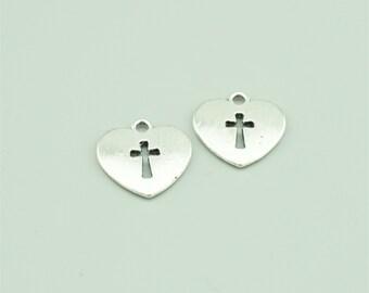25pcs 17x16mm Antique Silver Cross Charm Pendants,Heart Charm Pendants JH5852