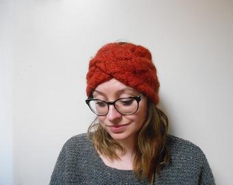 Wide knit turban headband//Large knitted turban headband//100% wool/wool Humaid