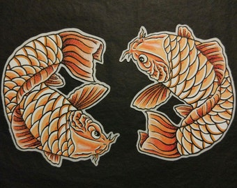 Pack of 2 Koi Carps hand painted Patches