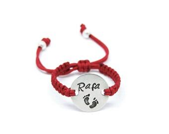 Baby sterling silver and customizable macrame bracelet