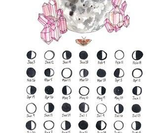 2017 Lunar Calendar Moon Calendar Art Print