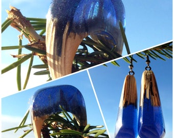 Set of wooden earrings and wooden ring with epoxy resin