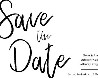 Save the Date Postcard, Instant Download - Black & White
