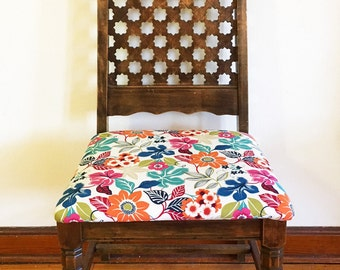Colorful Floral Detailed Chair