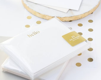 Hello Note Cards, Gold Foil Notecards, Hello Notecards, Gold Foil Note Cards, Foil Stamped Stationery, Gold Stationery, Boxed Stationery Set