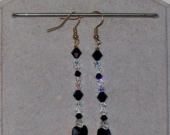 Earrings of Swarovski Crystal beads bicone Crystal Beads jet black and Crystal AB with a heart of 10.3 mm and Silver 925