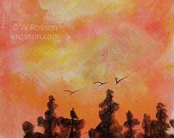 Sunset, Orange Sky, Trees, Birds, Clouds, Original Painting, Original Art, Home Decor, Office Art, Bird Art, 4x6, Winjimir, Gift, Art