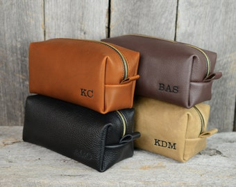 Leather Dopp Kit Shaving Bag with Free Monogram and Optional Interior Message