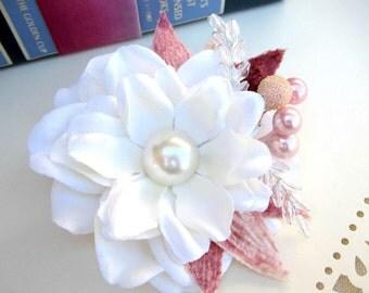 "Ivory Gardenia Hair Clip, Wedding Hair, Valenties Day, Floral Hair Accessorie, READY TO SHIP-"" Vintage Love"""