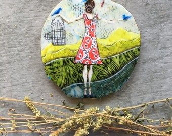 Girlfriend gift, Unique home decor, songbirds, gift for her, birdcage, shellieartist, one of a kind, Mounted Print, round wood slice
