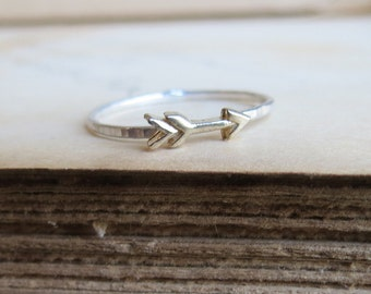 Sterling Silver and 14kt Gold Stacking Arrow Ring or Midi Ring Hammered Stack Ring in two tone metal