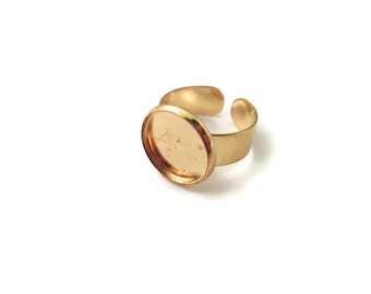 Gold Plated 14mm Bezel Rings shanks with an open adjustable back A91