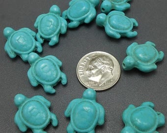 10 Turquoise Turtle Beads howlite turtles 19MM, 1.5MM hole (H2485)