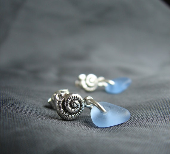 Little Nautilus sea glass earrings