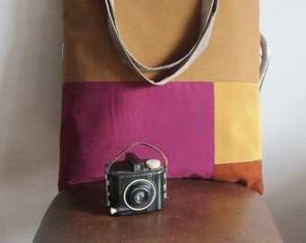 ON SALE On my Way Golden Corduroy, Rust Brown, Rust and  Plum Red Tote Bag with striped straps