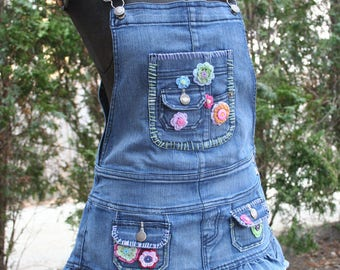 Flowered embroidered overall mini dress hippie short miniskirt denim repurposed medium