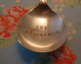 Superhero Spoon - Hand Stamped Spoon - Souper Hero - Large Spoon - Dad - Mum - Man - Woman - Gift - Personalise - Personalize - Cutlery