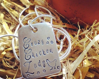 Hand Stamped Pewter Pendant Necklace - Crazy Chicken Lady - Gift for Her - Chicken Lover -Jewellery - Personalised - Personalize