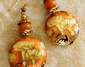 Pumpkin Spice Cloisonne and Gold Vermeil Earrings