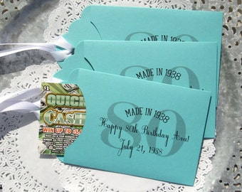 80th Birthday Favor | Favors For 80th Birthday | Lottery Ticket Birthday Favors | Adult Favors | Adult Birthday Favor | Adult Party Favor