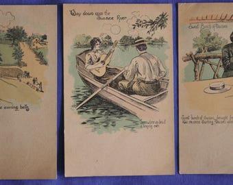 Lot of 3 1907 Romantic Postcards to Myrtle McFacklen Stafford Kansas