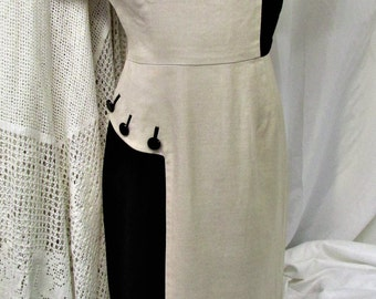 Vintage 1950's Dress Fitted Tailored Linen Frock Black & Beige Big Buttons Paula Brooks Day Dress