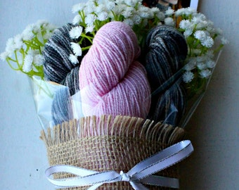 Yarn Bouquet - CoBaSi Yarn and Knit Shawl Pattern - Great Valentine, Mother's Day, Birthday, Anytime Gift for the Yarn Lover in your Life
