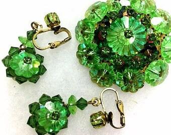 Vintage Green Demi Parure Set . 1950s 1960s Brooch & Earring Set . 50s 60s Margarita Rivoli Domed Broach-Pin Dangle Earrings . Faceted