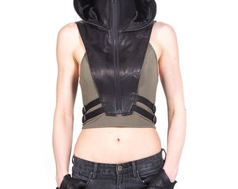 NINJA KOMBAT Tech Wear Hooded Crop Top Vest in Black Leather
