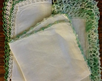 Lace Hankie Lot Green White tatted, crochet trim, vintage 1950s, handmade, tatting, 3 pocket stuffer accessory