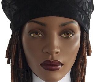 Ultra Suede Floral Beret Hat French Beret Hat Black Tam Hat Satin Lined Hat Handmade Hat French Beret Classic Beret Hat Womens Beret Hat